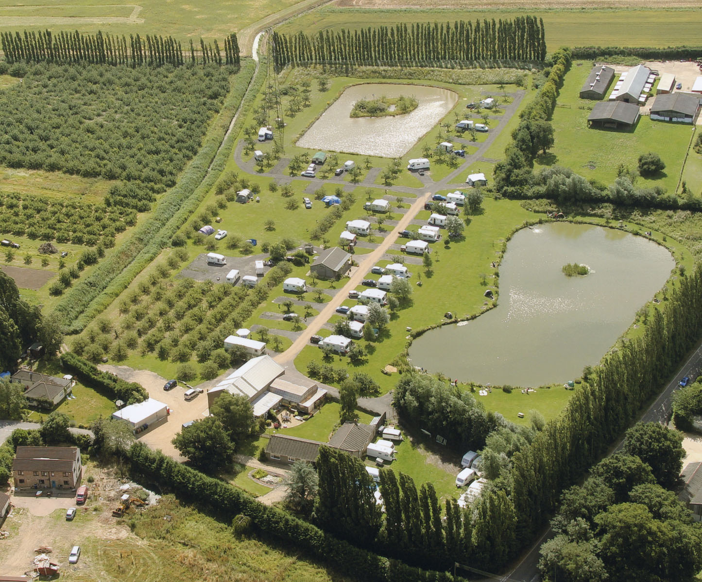 Aerial photograph of little ranch leisure including the fishing lakes and caravan park